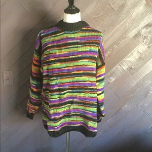 Vintage Colorful Handknit Sweater 🖤💙🧡💚